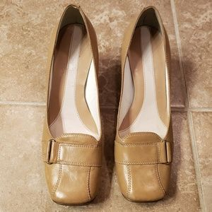Nine West Leather Square Toe Heels